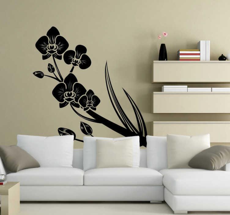 TenStickers. Okrasna nalepka orhideje. Okrasna vinilna nalepka čudovite orhideje z njenimi vejami in cvetovi. Okrasite svoj dom z ustvarjanjem edinstvenih življenjskih prostorov.