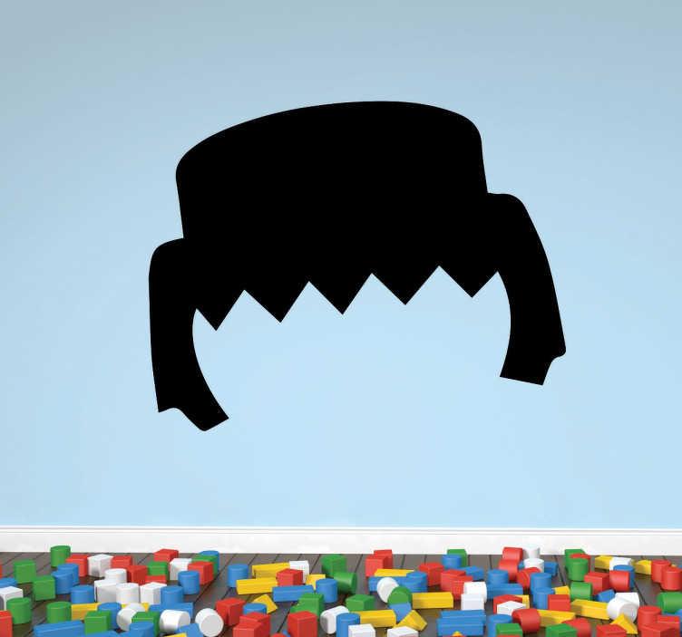 TenStickers. Adesivo pettinatura playmobil. Adesivo decorativo della peculiare pettinatura dei classici giocattoli che fanno divertire i bambini.