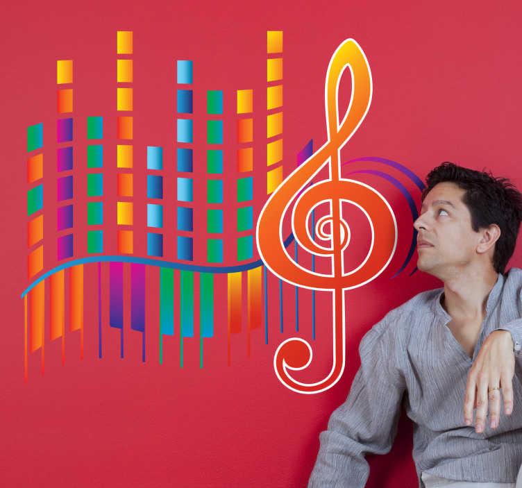 TenStickers. Sticker muzieknoot modern. Deze sticker van een muzieknoot met een het welbekende moderne paneel ernaast zijn ideaal voor het muzikale individu. Breng uw muren tot leven.