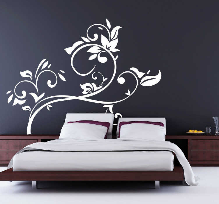 florales wandtattoo kopfende bett tenstickers. Black Bedroom Furniture Sets. Home Design Ideas