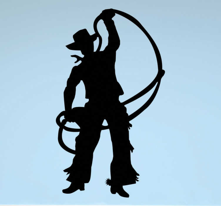 TenStickers. Cowboy silhouette sticker. Decoratieve sticker voor de cowboys onder ons! Je zie thier namelijk het silhouette van een cowboy met een lasso!