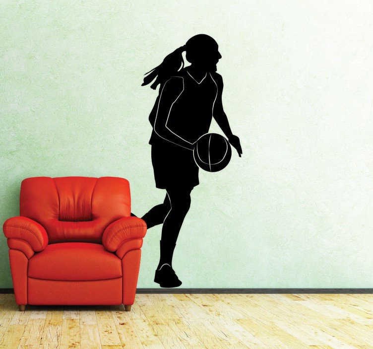 TenStickers. Girl Basket Baller Silhouette Sticker. Decorative sticker with the silhouette of a basketball player in action, running around the field and bouncing the ball.