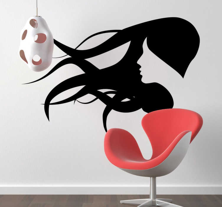 TenStickers. Woman In The Wind Sticker. Beautiful decorative sticker showing a woman's hair blowing in the wind. Elegant design perfect for hair or beauty salons.