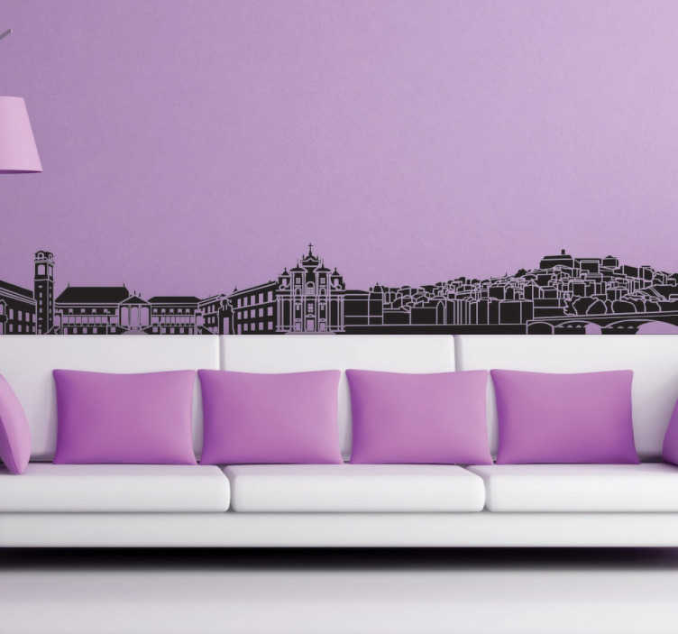 TenVinilo. Vinilo decorativo Skyline Coimbra. Skyline en vinilo decorativo de la ciudad de Coímbra, situada en Portugal. Hazte con esta preciosa vista en una pegatina monocolor que hará de tu salón un espacio único.