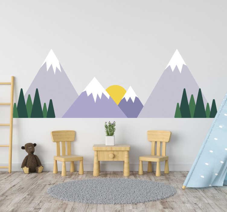 TenStickers. Sticker landschap bergen. Een prachtige muursticker met hierop de tekening van een prachtig landschap. Een wandsticker met besneeuwde bergen, dennenbomen en een stralende zon.