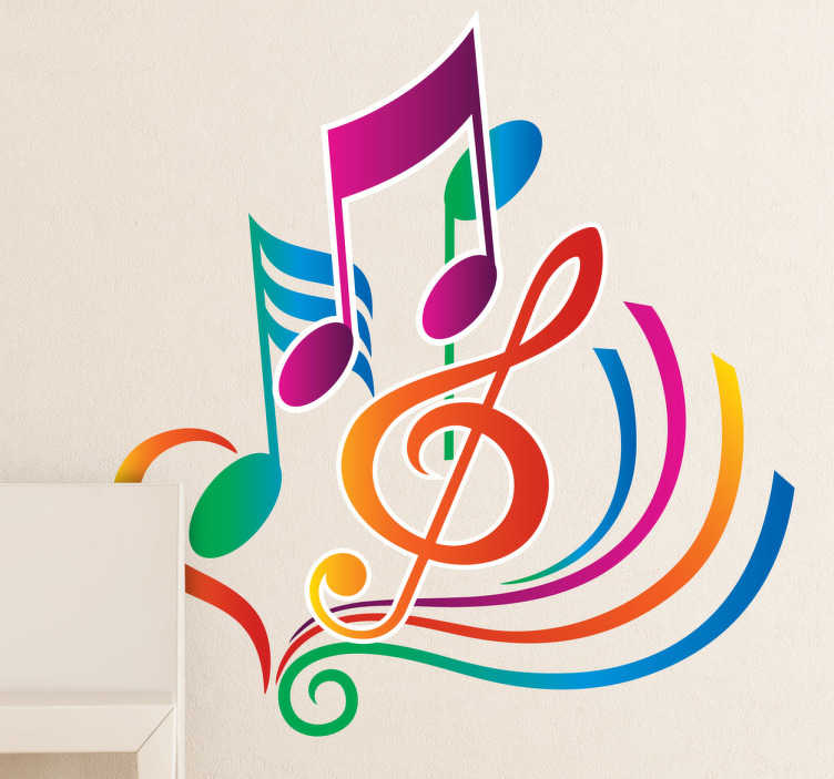 TenStickers. 다채로운 뮤지컬 메모 비닐 스티커. 이 컬러 풀 한 음악 벽 스티커로 침실, 거실, 스튜디오 또는 교실에 색과 음표를 추가하십시오. 이 활기찬 소용돌이와 상징으로 당신의 침실에 생명을 불어 넣으십시오.