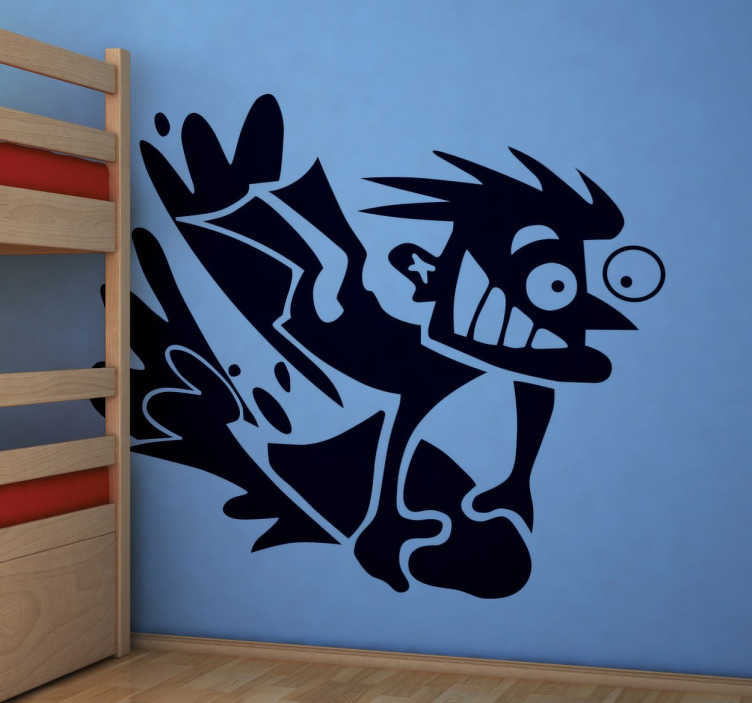TenStickers. Naklejka szalony surfer. Nakleja na ścianę dla wszytskich wodnych zapaleńców. Zabawna ozdoba z postacia surfera pędzącego na fali.