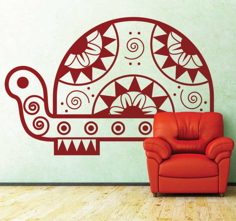 TenStickers. Vinil decorativo tartaruga étnica. Autocolante decorativo de uma tartaruga étnica criada com formas geométricas como espirais, circulos e triângulos.  .