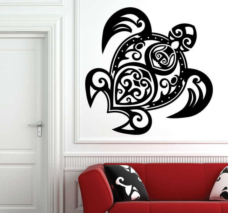 TenStickers. Tribal Turtle Sticker. Sticker of a turtle formed with a tribal pattern, that will make the walls of your home unique.