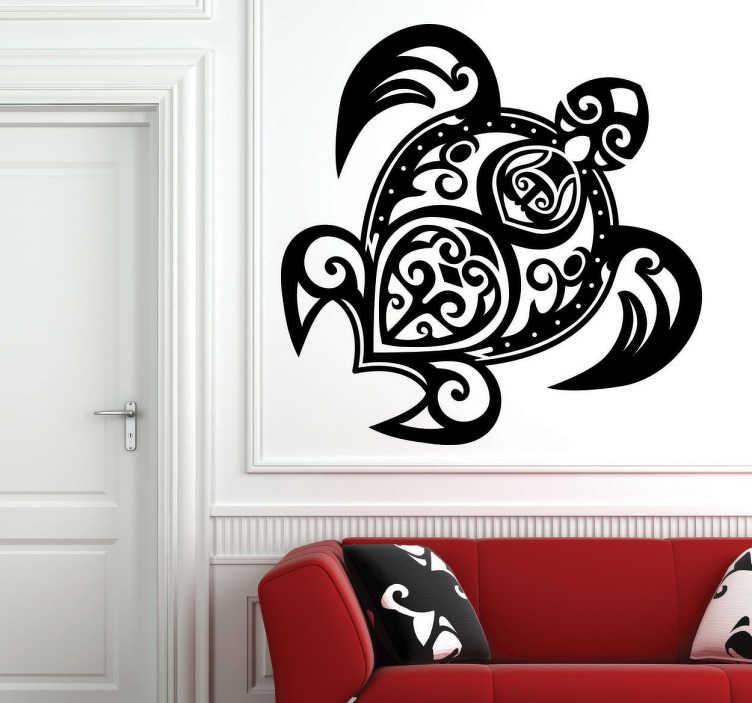 TenStickers. Naklejka wzorzysty żółw. Fantastyczna dekoracja ścienna do każdego wnętrza przedstawiająca kształt żółwia, na który składają się różne wymyślne wzory.