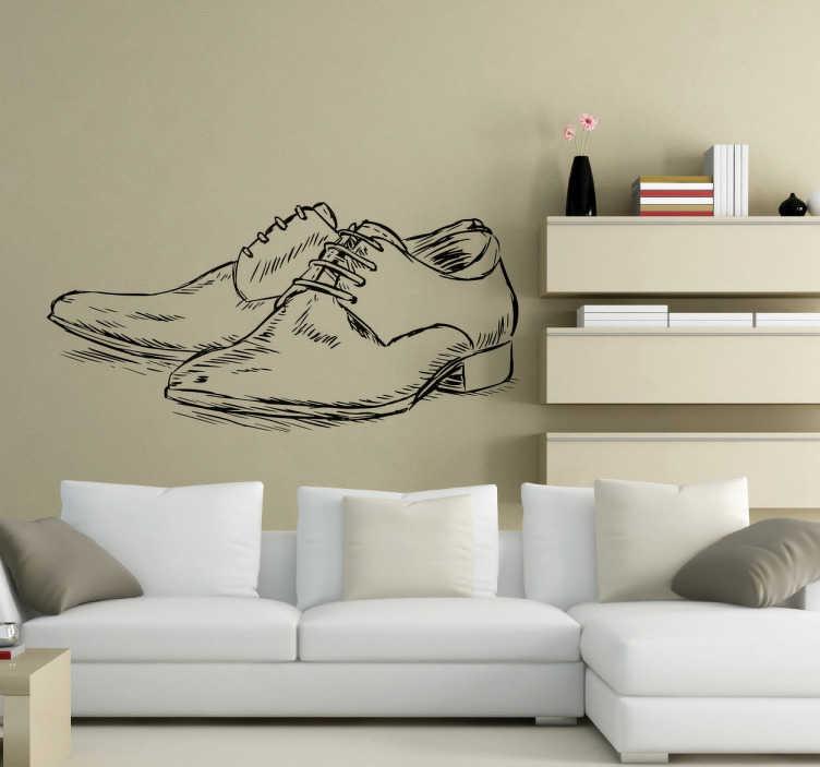 TenStickers. Sticker chaussures homme. Sticker décoratif illustrant une élégante paire de chaussures pour hommes, qui donnera à votre pièce une ambiance toute particulière.