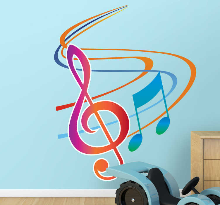 TenStickers. Autocollant mural note musicale. Stickers mural illustrant des notes de musique colorées.