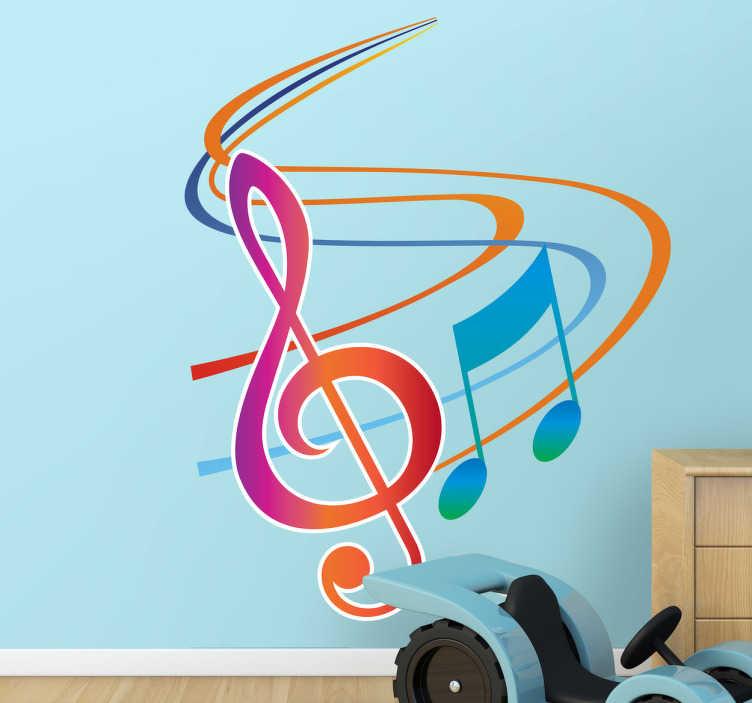 TenStickers. Kolorowa naklejka dekoracyjna klucz wiolinowy. Naklejka na ścianę przedstawiająca klucz wiolinowy, nutę i fragment pięciolinni wszystko w żywych kolorach.