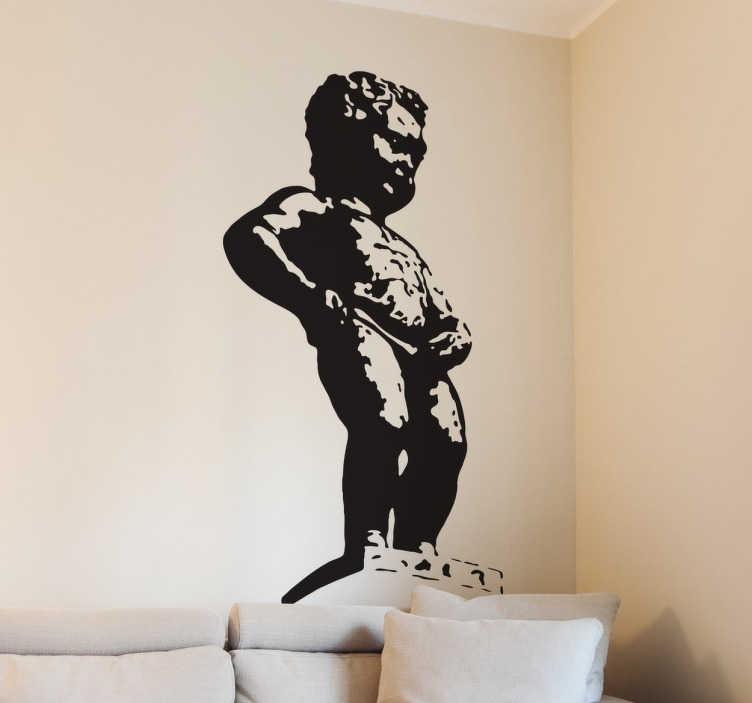 TenStickers. Naklejka dekoracyjna symbol Brukseli. Naklejki na ścianę z postacią siusiającego chłopca, który jest symbolem Brukseli. Naklejka na ścianę dal miłośników Brukseli.