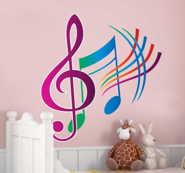 TenStickers. 다채로운 뮤지컬 스티커. 원래 스티커 다채로운 뮤지컬 노트를 보여주는! 당신의 벽을 장식하고 당신의 집에 약간의 색깔을 가져다주는 화려한 데칼.