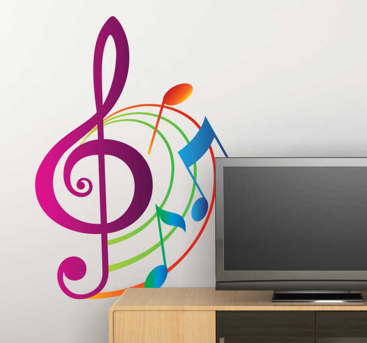 TenStickers. Colourful Musical Notes Decal. A superb music wall sticker illustrating colourful musical notes in a beautiful pattern! A vibrant musical decal to bring some life and colour to the walls of your home, classroom or music studio. This gorgeous pink, orange, green and blue sticker is just what your home decor is missing.