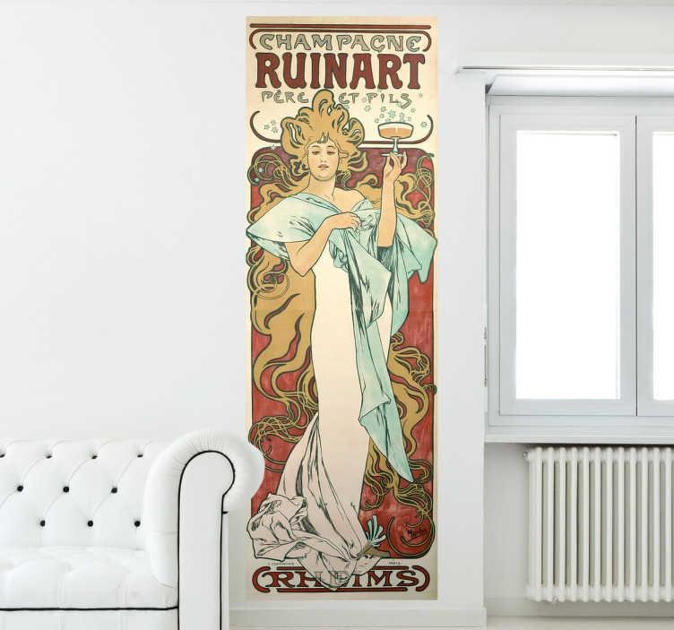 TenStickers. champagne ruinart Wandtattoo. Modernistes Gemälde mit der Arbeit des tschechischen Malers Alfons Mucha als Wandtattoo.