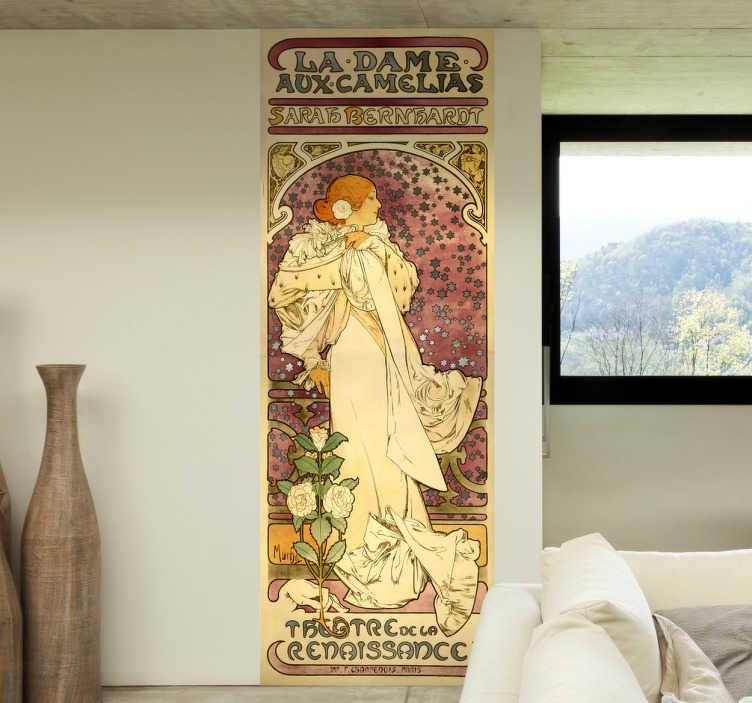 TenVinilo. Vinilo cartel dame aux camelias Mucha. Vinilos de carteles del pintor checo Alfons Mucha, máximo exponente del Art Nouveau de finales del siglo XIX.