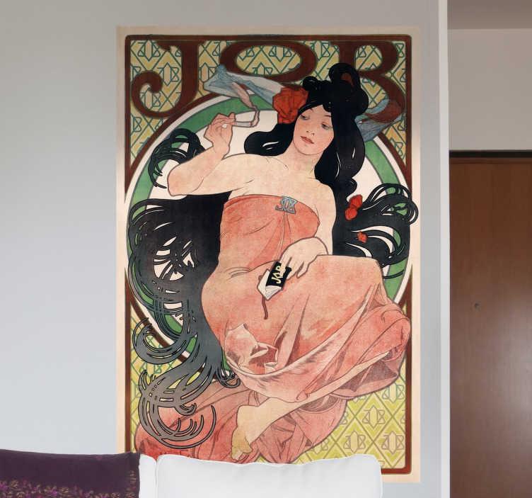 TenStickers. Jugendstil Plakat Wandtattoo. Antike Kunst Wandtattoo - Dekoratives und modernistisches Poster von dem berühmten Maler Alfons Mucha. Blasenfreie Anbringung
