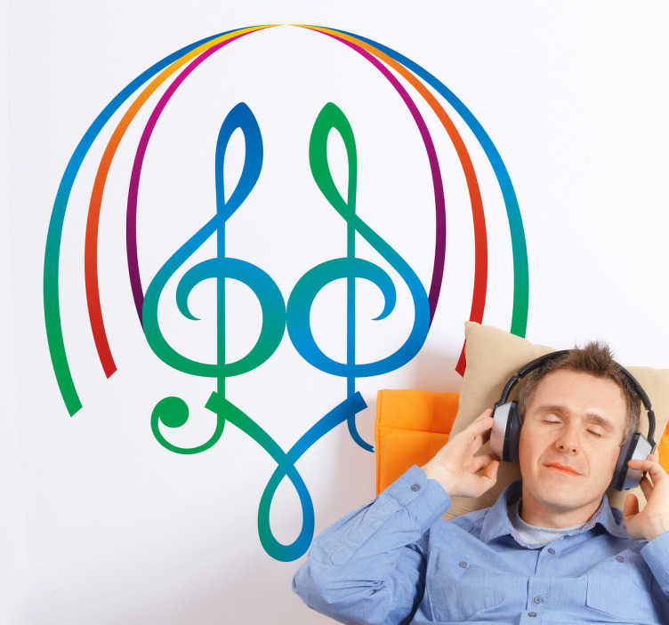 TenStickers. Symmetric Musical Notes Sticker. Original sticker with symmetric colourful musical notes! Perfect decal to decorate your walls if you are a musician.