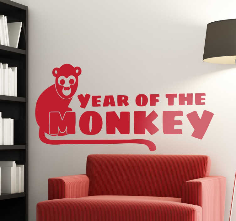 TenStickers. Year of the Monkey Sticker. Did you know that this year is the year of the monkey? Celebrate the Chinese new year with this easy to apply sticker.