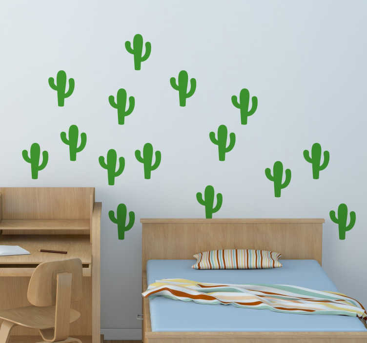 TenStickers. Set sticker pere bambini cactus. Wall sticker decorativo per bambini che raffigura  set di stickers con dei piccoli cactus colorati.