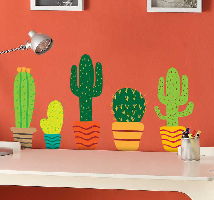 TenStickers. Colourful Cacti Sticker. A collection of cacti stickers for you redecorate any room in your home in your own unique way, from our collection of plant wall stickers. A sheet of cactus wall decals available in a variety of sizes.
