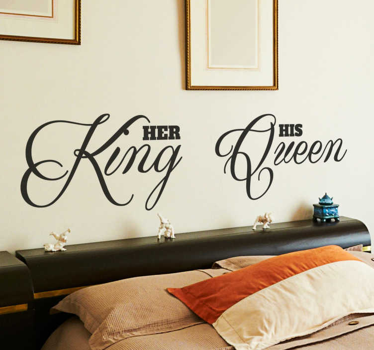 "TenStickers. King & Queen Headboard Sticker. A creative text sticker to decorate your bedroom and create a romantic atmosphere that your partner will love! Brilliant headboard decal for couples displaying the words ""her king"" and ""his queen"" in a beautiful cursive font."