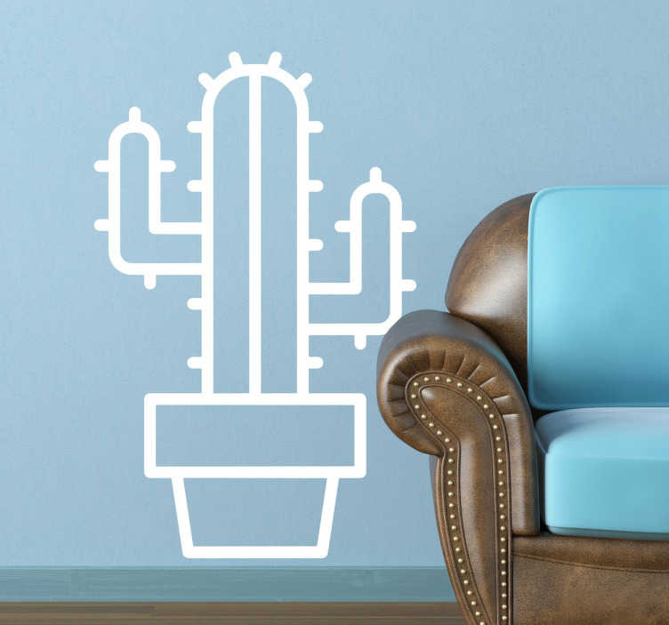 TenStickers. Naklejka dekoracyjna kaktus. Naklejki na ścianę przedstawiające kaktusy. W tym przypaku szkic lub jedynie zarys kaktusa. Bardzo modny wzór ozdobny.