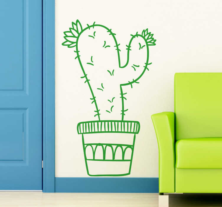 TenStickers. Potted Cactus Plant Sticker. Cactus plant sticker that is ideal to give a relaxed and different touch to the walls of any room.