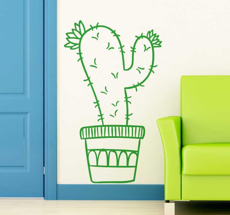 TenStickers. Wandtattoo Topfpflanze Kaktus. Dekoratives Wandtattoo von einem Kaktus als Topfpflanze. Gestalten Sie Ihr Wohnzimmer mit diesem fröhlichen und natürlichen Aufkleber.