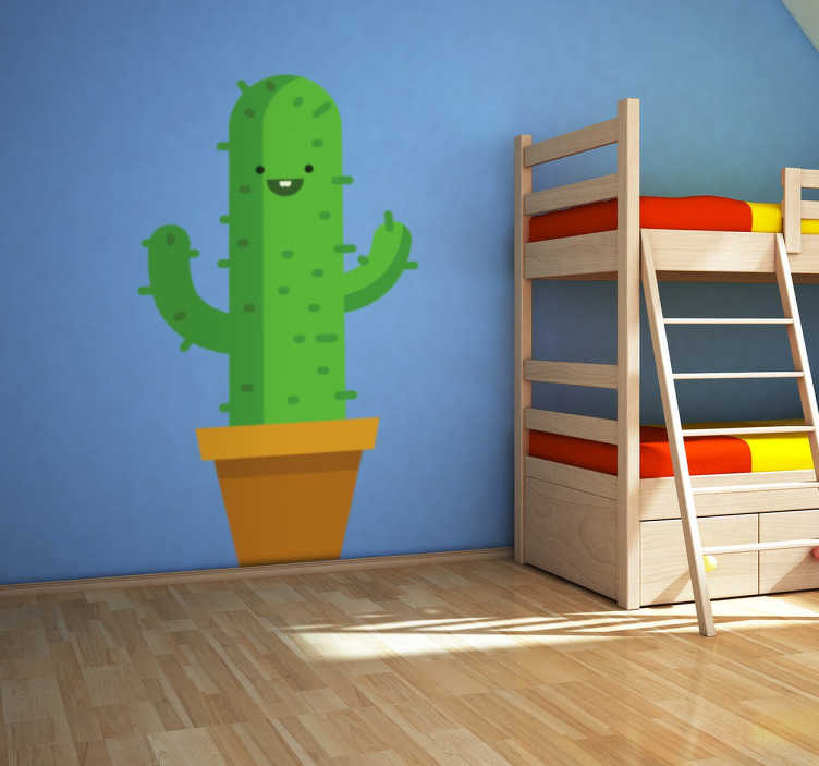 TenStickers. Smiling Cactus Sticker. Children's sticker with a fun drawing of a cheerful cactus plant, ideal to bring some colour to your room.