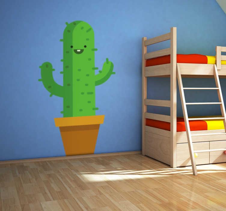 Naklejka dekoracyjna uśmiechnięty kaktus