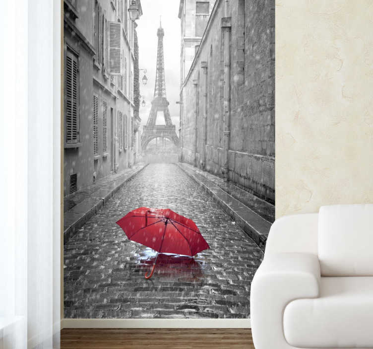 TenStickers. Paris Red Umbrella Photo Mural. A spectacular decal of a rainy Parisian street with a view of the Eiffel Tower at the end.