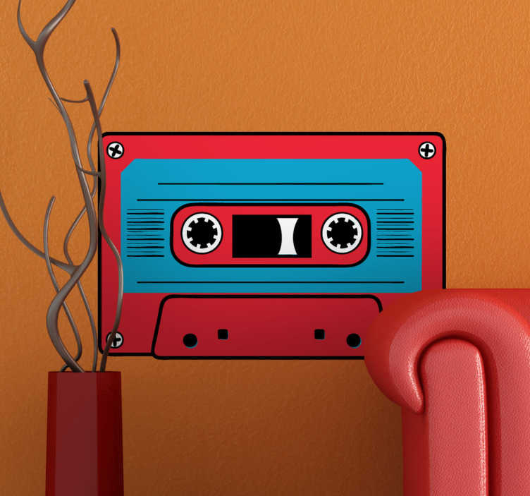 TenStickers. Red and Blue Cassette Sticker. Decorative vintage cassette with red in the edges and blue in the middle. A classic wall decal to decorate your walls.