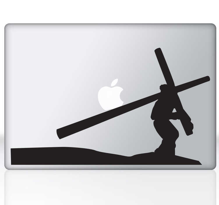 TenStickers. Jesus Christ Cross Laptop Sticker. A laptop sticker with a characteristic image of Holy Week, designed for fervent believers of Christianity.