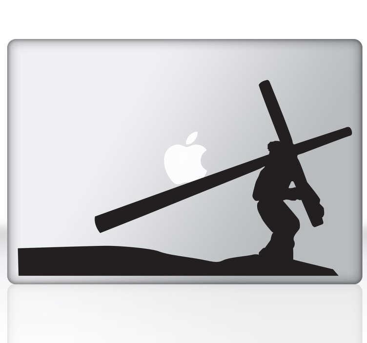 TenVinilo. Vinilo para portátil Jesucristo cruz. Vinilos para ordenador pensados para fervientes creyentes con una imagen característica de la Semana Santa.