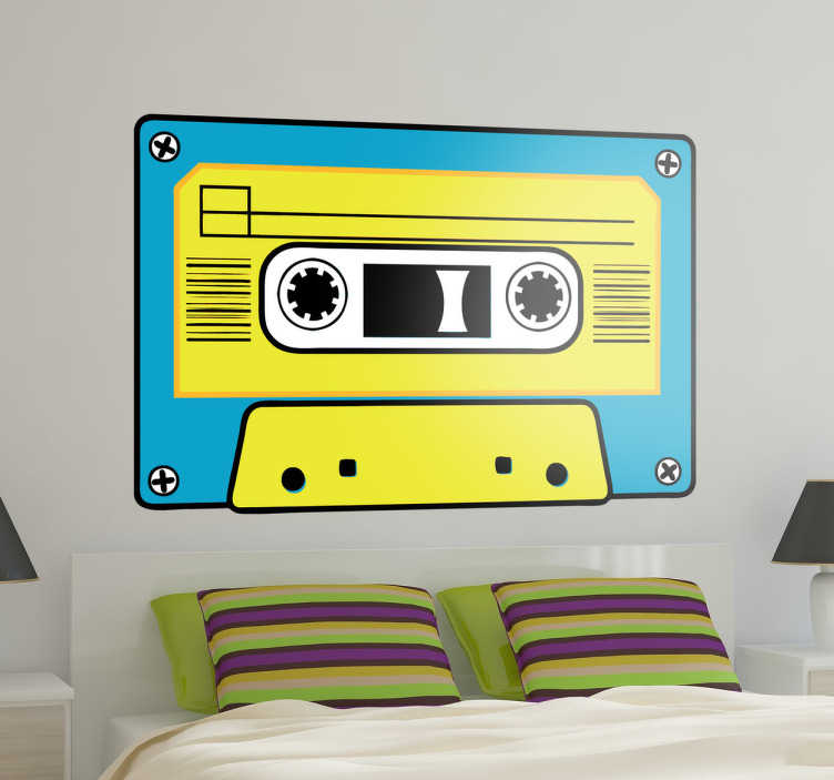 TenStickers. Yellow and Blue Cassette Sticker. A vintage yellow and blue cassette sticker . A retro wall decal to decorate your bedroom and obtain the look you wish!