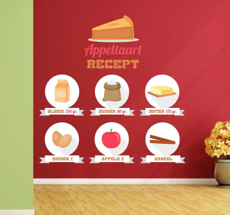 Muurstickers Keuken Recepten : Appeltaart recept appel muursticker – TenStickers