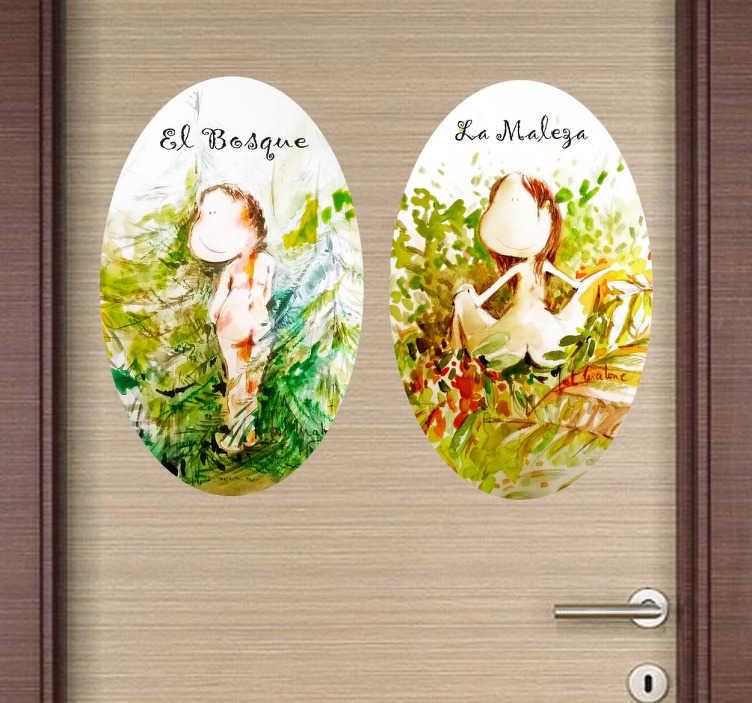 TenVinilo. Vinilos señalizacion WC maleza y bosque. Adhesivos para señalización de puertas de servicios con unas divertidas ilustraciones basadas en el génesis bíblico.