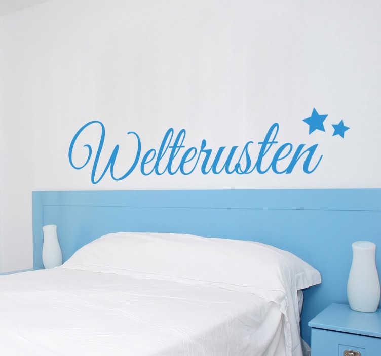 TenStickers. Welterusten goedenacht slapen sticker. Muursticker om de slaapkamer mee te decoreren! Je ziet het woord Welterusten met 2 sterretjes in mooie sierlijke letters!