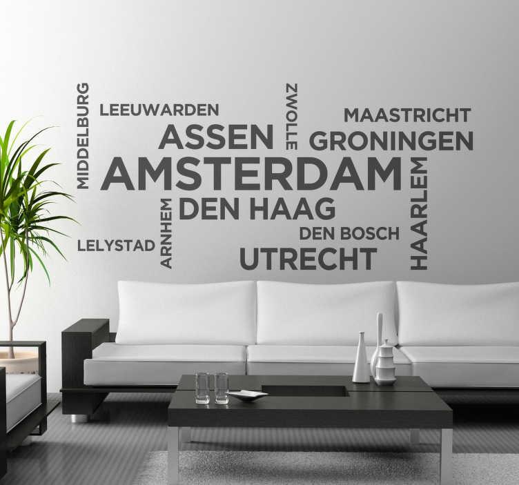 TenStickers. Nederlandse steden sticker. Amsterdam? Leeuwarden? Maastricht? Staat jouw stad ertussen? Betsel snel deze leuke muursticker met verschillende steden in Nederland!