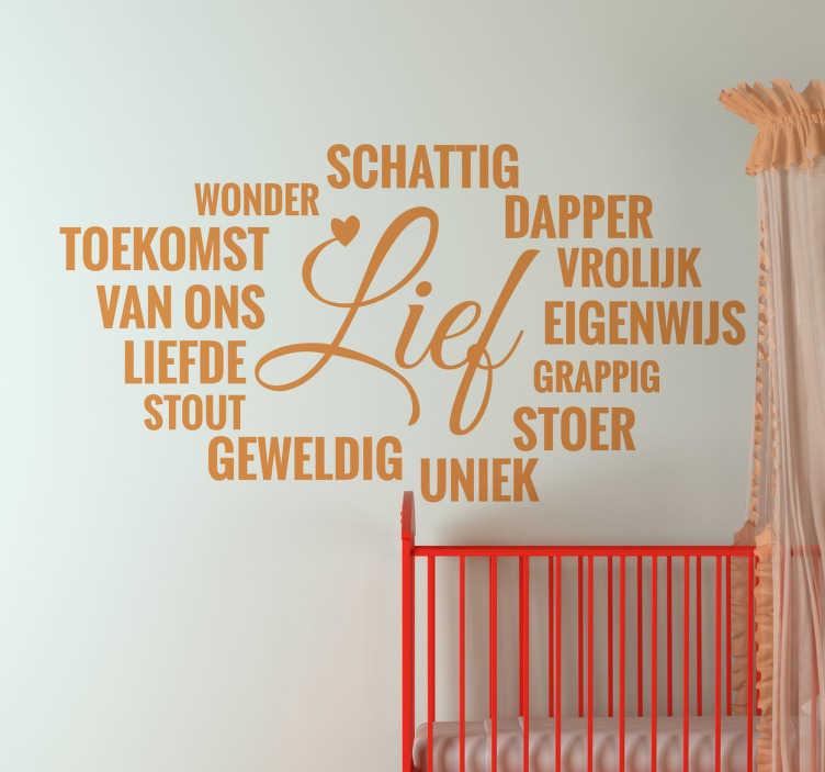 TenStickers. Nederlandse woorden lief kinderkamer muursticker. Voeg meer liefde en vrolijkheid toe in de kinderslaapkamer dankzij deze leuke sticker met allemaal lieve woorden!