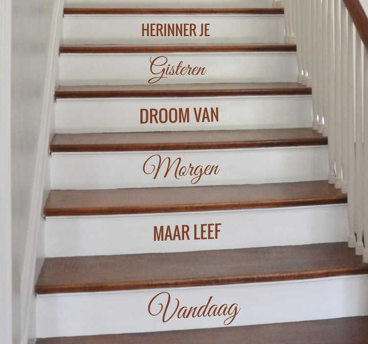 TenStickers. Nederlandse tekst herinner droom leef trap sticker. Nederlandse tekst sticker om jouw trap net wat meer te geven! Decoreer de trap met deze motivatie sticker met Nederlandse tekst over het leven!