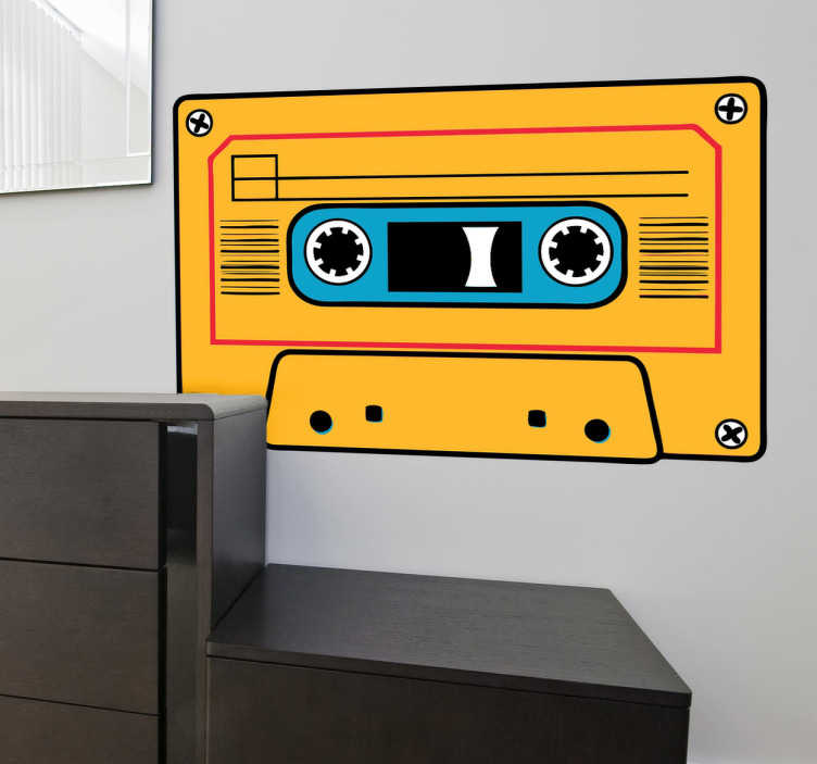 TenStickers. Yellow Cassete Sticker. Vintage yellow cassette sticker. A wall decal to decorate any room to give it a classic look!