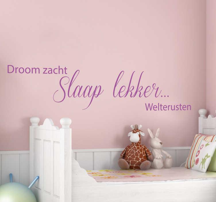 Slaapkamer Nederlandse tekst slaaplekker sticker   TenStickers
