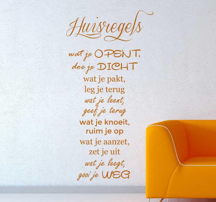 TenStickers. Huisregels tekst muursticker. Elk huis kent zijn regels maar hoe leuk is het als je deze huisregels op de muur hebt op een leuke en vrolijke manier!