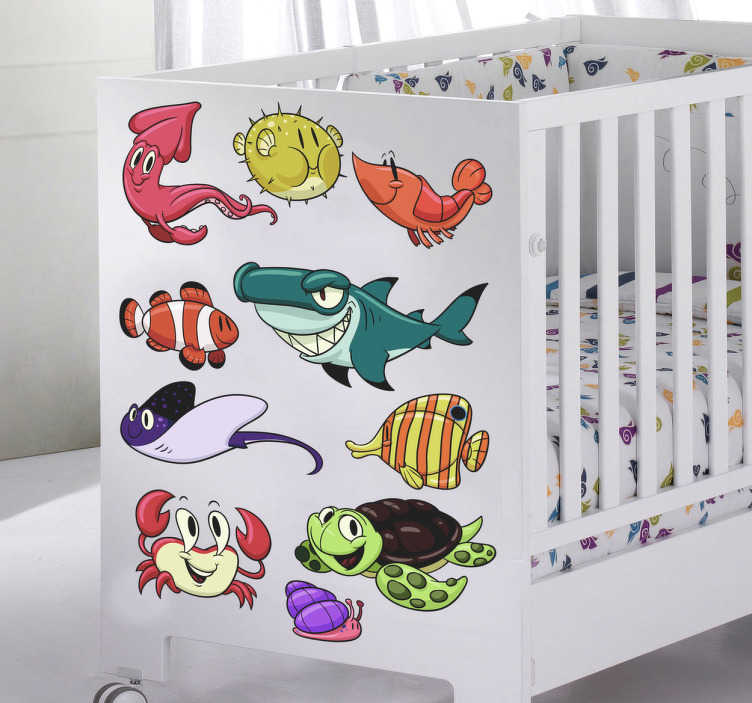 TenStickers. Kids Sea Creatures Stickers. A kids sticker set illustrating sea creatures to decorate any smooth surface! Brilliant design from our collection of under the sea wall stickers. These friendly sea animals will provide your children's bedroom or play area with a fantastic atmosphere.