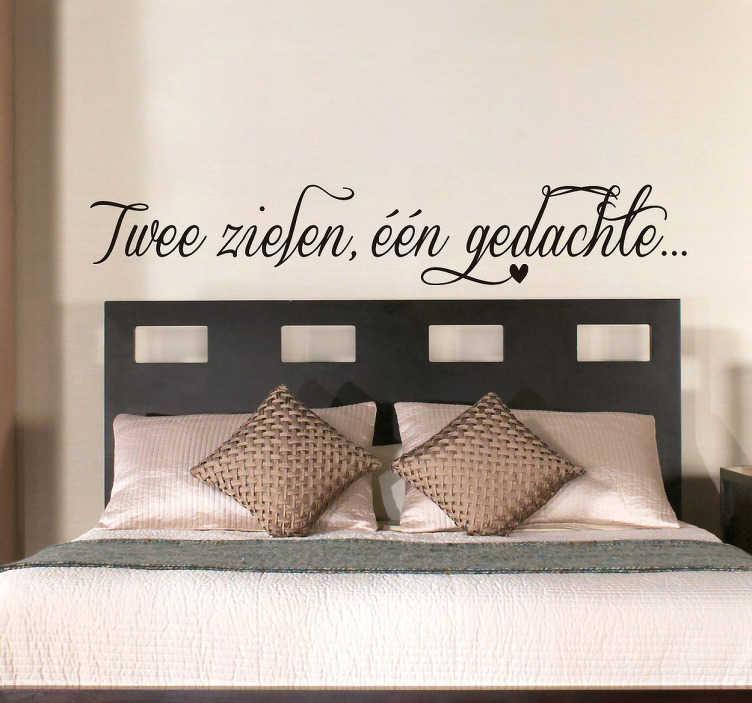 TenStickers. Twee zielen, één gedachte muursticker. Decoreer de slaapkamer en maak het romantischer dankzij deze mooie tekst sticker met de tekst ¨Twee zielen, één gedachte...¨!