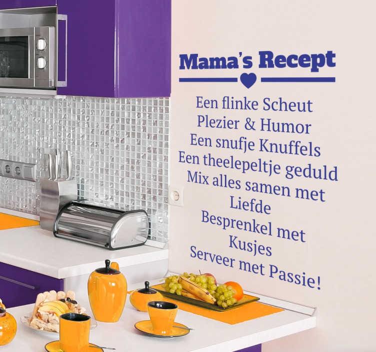 TenStickers. Mama´s recept keuken tekst sticker. Decoreer de keuken met deze leuke en lieve muursticker met mama´s recept vol liefde en passie! Een leuke toevoeging voor jouw restaurant.